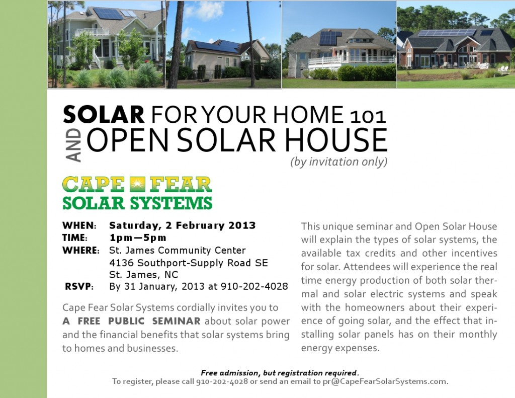 Cape Fear Solar Systems | Solar For Your Home 101 And Open Solar House at St. James
