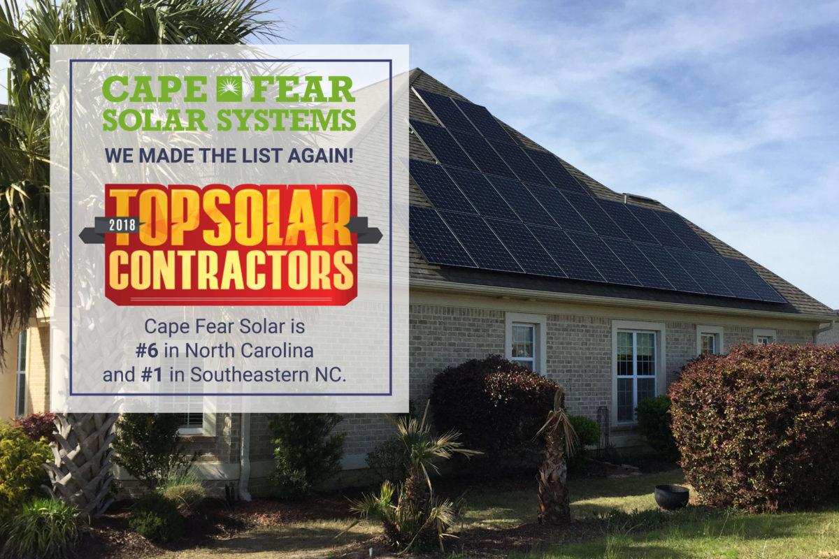 2018 NC Top Solar Contractor
